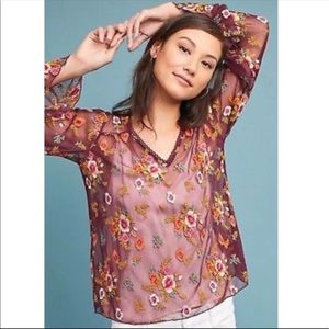Anthropologie Embroidered Mesh Blouse Size Small